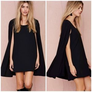Romeo&Juliet Couture | Black Crepe Cape Mini Dress